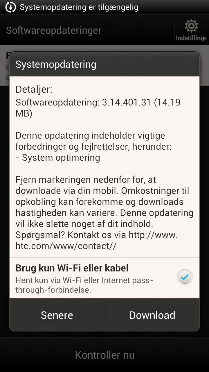 HTC One X opdatering v3.14.401.31