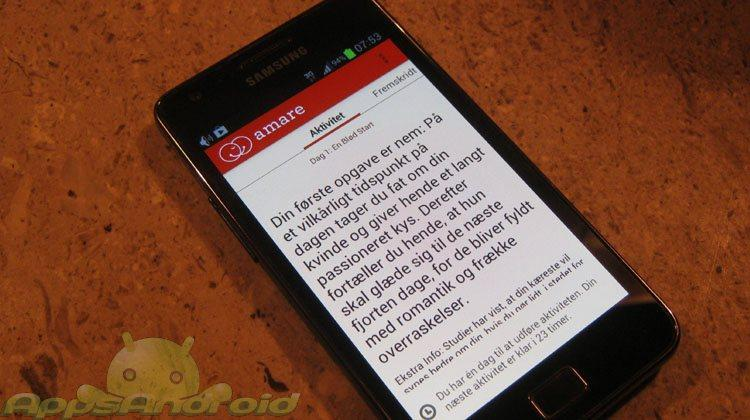 Amare dansk Android smartphone app