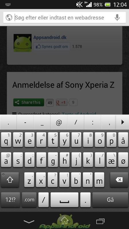 Sony Xperia Z tastatur dk