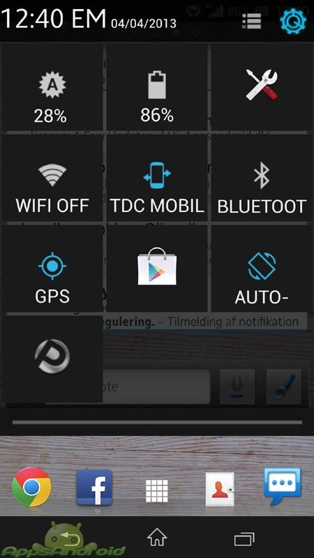 Antek quick settings screenshot