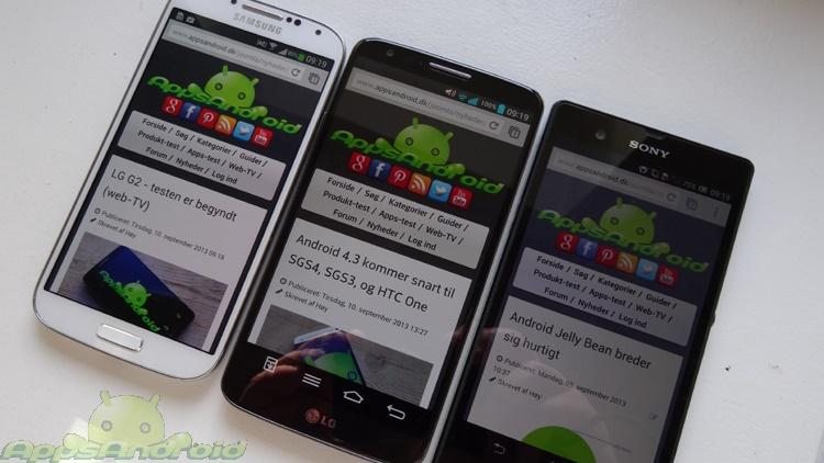 LG G2 vs Samsung Galaxy S4 vs Sony Xperia Z