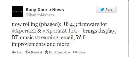 tweet sony xperia news